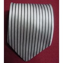 Bellisima Corbata Importada De Seda Plomo Con Negro M-513