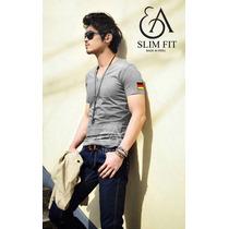 Ea Slim Fit - Polos Con Aplicacion Alemania Cuello V Pima
