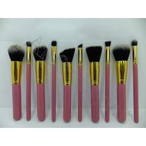 Aliferstyler Set 10 Brochas Kabuki Maquillaje Rosado- Dorado