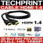 Cable Hdmi 1.4 Full Hd Conectores Oro 24 Kilates 1.80 Mt