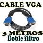 Cable Vga 3 Metros Doble Filtro Conecta Tu Lcd Al Cpu