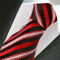 Corbata De Seda Swallowfight Rojo Y Negro,importada. M-289
