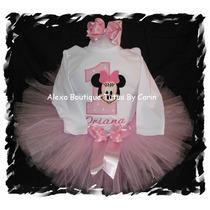 Minnie Mouse Vestido Tutu Tutus 3 Piezas Falda Polo Y Lazo