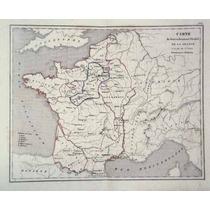Antiguo Mapa De Francia A La Muerte De Luis Ix (1860)