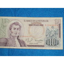 Billete De 10 Pesos Colombianos De 1980