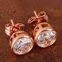Aretes Unisex Oro Rosado Laminado De 9 K Cristal Swarovski