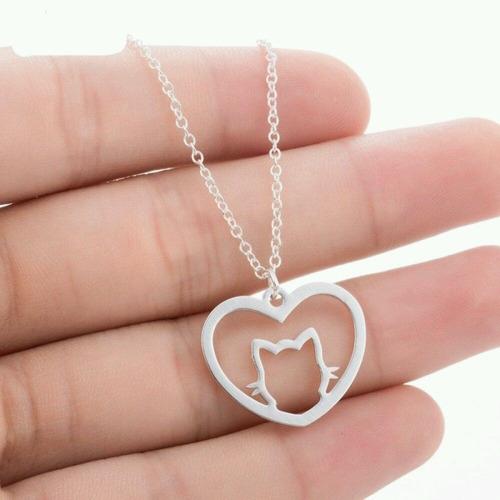 4a6a962533d3 Dije De Plata 950 Collar Para Mujer Dama Gato Corazón Joyas