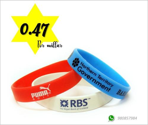 9942c300ea91 Pulseras De Goma Por Millar Por Mayor Con Logo