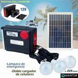 Kit Solar Portátil De Emergencia Panel Radio Fm Usb 3 Focos