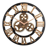Reloj 3d Retro Rústico Vintage De Madera Reloj De Pared Sin