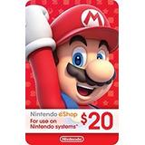 Tarjeta 20$ Nintendo Eshop Card Switch 3ds Dsi Wii U