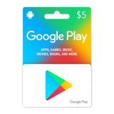 Google Play Gift Card $5 Android Smartphone Tarjeta Recarga