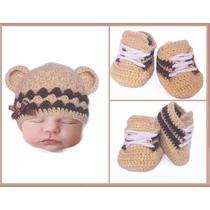 Gorro Bebe Con Zapatitos Tejido A Crochet Regalo Baby Shower