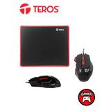 Te Kit Gamer Teros Gm-906, Mouse Optico + Mousepad De Tela F