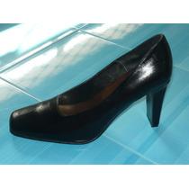 Zapato De Cuero Bellino Pelle Talla 8 1/2 Taco 9 Negro