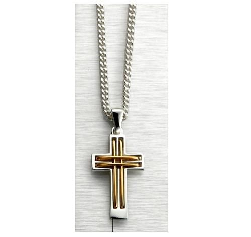 f6451c920781 Hermosa Cadena Collar Hombre Cruz Faith Baño Plata Oro Esika en ...