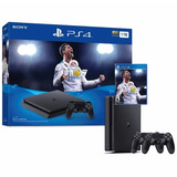 Ps4 Consola Play Station 4 Slim 1 Tb Fifa 2018 - 2 Controles