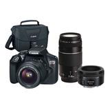 Canon Eos Rebel T6(combo 45)+ef S18-55 +ef 50 F/1.8+ef75-300