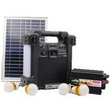 Kit Solar Portátil Inversor De 220v Am Fm Bluetooth 4 Focos