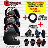 Casco Moto + Guantes Reforzados + Cadena De Seguridad A S/99