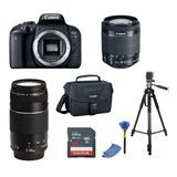 Kit Canon T7i/18-55mm/75-300mm/tripode/memoria 16gb/maletín