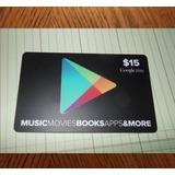Tarjeta Google Play $15 Región Usa - Email Delivery
