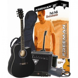 Pack De Guitarra Electroacústica Folk, Color Negro, Freeman