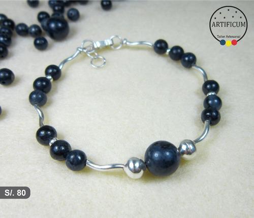 bb495ca90582 Pulsera Piedras Preciosas Zafiro Azul Naturales Plata 950