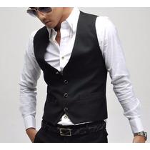 Chaleco Slim Fit, Entallado, Moda Coreana