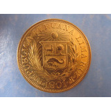 Libra Peru Moneda Oro Solido Ley 22 Kilates Año 1901 Escaso