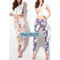 Pantalon Jean Skinny Pitillo Floreado Floral Flores