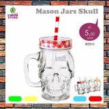 Mason Jar De Vidrio Skull Calavera