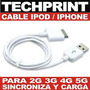 Cable Usb Ipod Iphone 2g 3g 4g 5g Sincroniza Carga Garantia