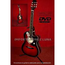 Guitarra Acustica Rojo De Lujo, Con Cuerdas De Metal
