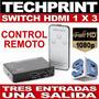 Switch 3d Hdmi Full Hd 3 Entradas 1 Salida + Control Remoto