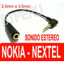 Adaptador 2.5mm A 3.5mm Nokia 5300 Nextel Treo Mp4 Estereo