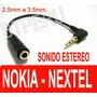 Adaptador 2.5mm A 3.5mm Nokia 5300 Nextel Treo Mp4 Estereo