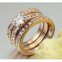 Elegante Anillo De Compromiso 3 En 1 Enchapado Oro Rosa 18k