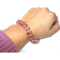 Bella Pulsera Mujer Con 42 Cristales Swarovski Elements Rojo