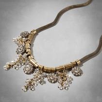 Collar Bronce Con Piedras Cristales Metal Abercrombie