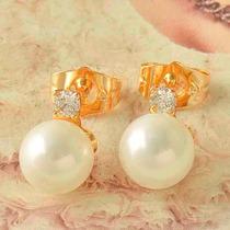 Aretes Oro Laminado 18k Perlas Y Zircon Cubico