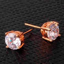 Aretes Unisex Oro Laminado 18k Cristal Swarovski De 8mm