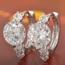 Aretes Oro Blanco Laminado 9 K Con Cristales Swarovski