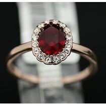 Hermoso Anillo Swarovski Rojo Baño Oro 18k En Stock Elle851