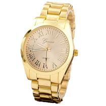 Geneva Reloj Dorado De Metal Con Numeros Romano Fondo Crema