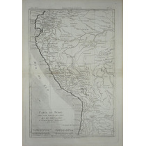 Antiguo Mapa Del Perú, Rigobert Bonne, 1780.