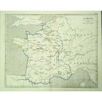 Antiguo Mapa De Francia A La Muerte De Luis Xi En 1485(1860)