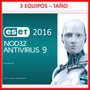 Antivirus Eset Nod32 2016 /para 3 Pc | 1 Año Key Digital !!!
