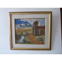 Pintura Indigenista De Angel Rozas Oleo Sobre Lienzo 44x46 C