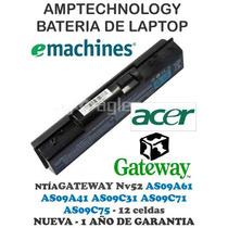 Bateria Laptop Gateway Nv52 12 Celdas Emachine D525 As09a61